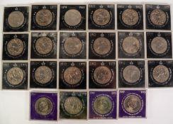 SEVENTEEN QUEEN ELIZABETH II SILVER JUBILEE COMMEMORATIVE CROWN COINS 1977, each displayed in Nat