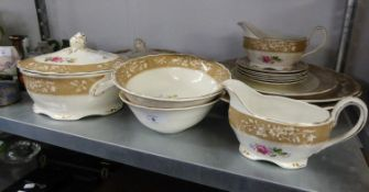 GRINDLEY 'ROYAL PETAL' POTTERY DINNER SERVICE FOR SIX PERSONS, 19 PIECES (19)