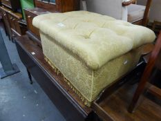 A BOX FORM OBLONG STOOL, BUTTON UPHOLSTERED IN GOLD SILK TAPESTRY, 2?2? X 1?8?