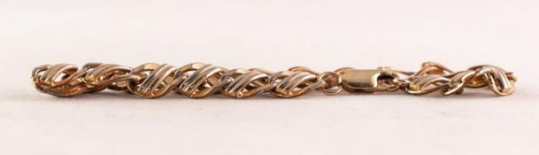 GOLD PLATED FANCY LINK CHAIN BRACELET with a 9ct GOLD TRIGGER CLASP