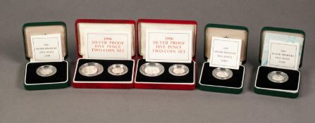 TWO 1990 5p TWO COIN SILVER PROOF SETS, together with THREE 1990 PIEDFORT 5p SILVER PROOF COINS, all