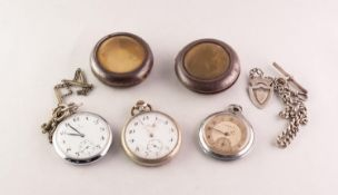 TWO INTER-WAR YEARS WHITE METAL CASED KEYLESS OPEN FACE GENTLEMAN'S POCKET WATCHES, in outer gun-