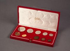 1975 SOUTH AFRICAN TEN COIN SET INCLUDING A GOLD 2 RAND AND A GOLD 1 RAND COIN, both mint, 12.1g, in