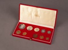 1980 SOUTH AFRICAN TEN COIN SET INCLUDING A GOLD 2 RAND AND A GOLD 1 RAND COIN, both mint, 12.1g, in