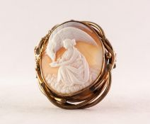 VICTORIAN LARGE OVAL SHELL CAMEO BROOCH depicting a classical female figure feeding a large bird, in