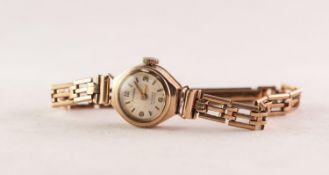 F. HINDS, SWISS MADE, LADY'S 9ct GOLD WRISTWATCH with 17 jewels incabloc movement, tiny circular