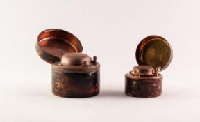 TWO VICTORIAN MOROCCO CLAD GILT METAL TRAVELLING INKWELLS, cylindrical 2in (5cm) and 1 1/2in (3.8cm)