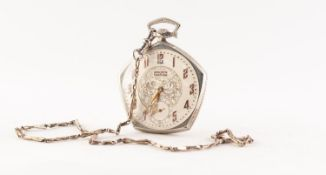 GRUEN SWISS PRECISION VERITHIN DRESS POCKET WATCH, with white gold plated Wadsworth Pentagon case,