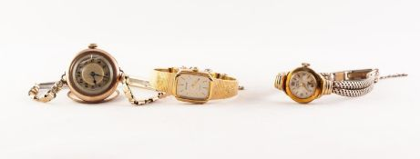 LADY'S 1920s MARS GOLD FILLED WRISTWATCH with 15 jewel movement, gold plated link strap; a lady's