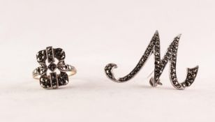 SILVER AND MARCASITE SCRIPT LETTER 'M' BROOCH, 4cm wide and a 9ct GOLD AND SILVER RING with