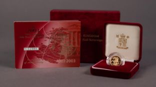 ROYAL MINT CASED AND ENCAPSULATED ELIZABETH II LIMITED EDITION GOLD PROOF HALF SOVEREIGN 2003 (