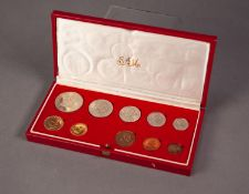 1976 SOUTH AFRICAN TEN COIN SET INCLUDING A GOLD 2 RAND AND A GOLD 1 RAND COIN, both mint, 12.1g, in