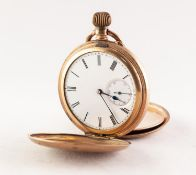 GOLD FILLED FULL HUNTER POCKET WATCH, with keyless movement marked 'Cyrus - GT', white Roman dial