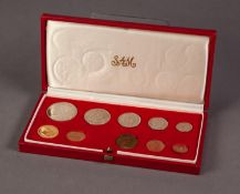 1974 SOUTH AFRICAN TEN COIN SET INCLUDING A GOLD 2 RAND AND A GOLD 1 RAND COIN, both mint, 12.1g, in