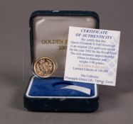 ROYAL MINT CASED AND SEALED ELIZABETH II GOLD HALF SOVEREIGN 2002 (VF), in blue case with
