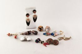 3 PAIRS OF CLOISONNE ENAMELLED DROP EARRINGS and 6 other PAIRS OF EARRINGS (18)