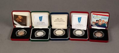 FIVE 50p SILVER PROOF COINS, comprising: PIEDFORT, 1998, (NHS), 1998, 1992-1993, 2005 (Samuel