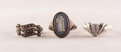 SILVER RING collet set with a Wedgwood pale blue and white jasper ware cameo; a triple strand