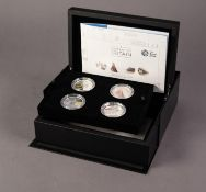 ROYAL MINT ?A PORTRAIT OF BRITAIN? LIMITED EDITION £5 SILVER PROOF FOUR COIN PRESENTATION SET with