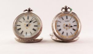 TWO LADY'S KEY WIND SWISS SILVER CASED FOB WATCHES, circa 1900, 0.935 purity, (2)