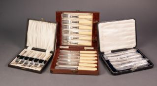 CASED SET OF SIX AFTERNOON TEA KNIVES WITH FILLED SILVER HANDLES, together with TWO CASED SETS OF