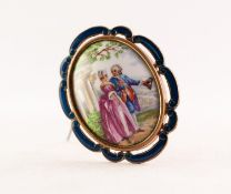 GILT METAL AND BLUE ENAMELLED BROOCH, framing a dome oval porcelain panel painted with a courtier