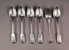 SET OF SIX VICTORIAN SILVER FIDDLE PATTERN TEASPOONS, initialled, London 1856, 4.5oz, (6)