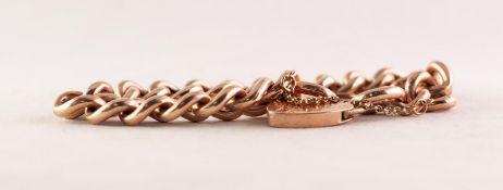 9ct GOLD BRACELET with large hollow curb pattern links and the 9ct GOLD PADLOCK CLASP, 20.5 gms