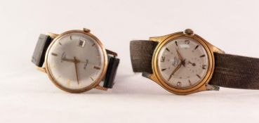 GENT'S ROTARY GOLD COLOURED METAL WRISTWATCH with 21 jewels movement, silvered circular dial with
