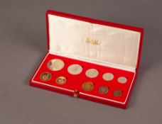 1982 SOUTH AFRICAN TEN COIN SET INCLUDING A GOLD 2 RAND AND A GOLD 1 RAND COIN, both mint, 12.1g, in