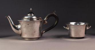 EDWARD VII SILVER TEAPOT AND MATCHING TWO HANDLED SUGAR BASIN BY MAPPIN & WEBB, both of slightly
