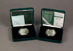 TWO PIEDFORT ?QUEEN MOTHER? CENTENARY SILVER PROOF CROWN COINS, supplied with certificates of