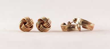 PAIR OF 9ct GOLD KNOT PATTERN STUD EARRINGS and a PAIR OF ENGRAVED 9ct GOLD BROAD, CURVED BAND