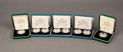 THREE 1992 PIEDFORT 10p TWO COIN SILVER PROOF SETS, together with TWO 1992 PIEDFORT 10p SILVER PROOF