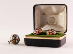 PAIR OF SILVER SCREW FASTENING AND CAITHNESS MILLEFIORE GLASS DOMED CIRCULAR EARRINGS, in associated