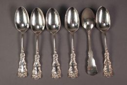 SET OF SIX NORTH AMERICAN/CANADIAN 'STERLING' SILVER TEASPOONS with scrollwork stamped handles, 4