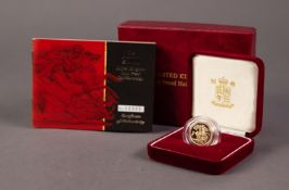 ROYAL MINT CASED AND ENCAPSULATED ELIZABETH II LIMITED EDITION GOLD PROOF HALF SOVEREIGN 2001 (