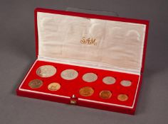 1983 SOUTH AFRICAN TEN COIN SET INCLUDING A GOLD 2 RAND AND A GOLD 1 RAND COIN, both mint, 12.1g, in