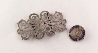 LATE VICTORIAN SILVER NURSE'S TWO-PART PIERCE BUCKLE, scroll pattern and wriggle engraved 3 1/2in (