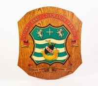 TWO SIMILAR SCUTIFORM WOODEN WALL PLAQUES LITHOGRAPHED, with 'Lytham St. Annes Corporation