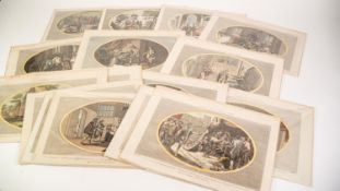 SIXTEEN LATE EIGHTEENTH CENTURY HAND COLOURED AND TITLED BOOKPLATES FOR ASHBURTONS HISTORY OF