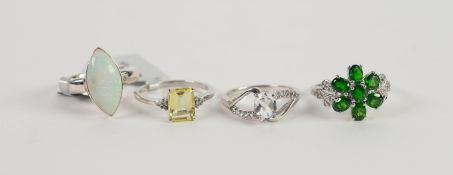 FOUR STERLING STONE SET RINGS, 925 mark, ring size P x 3, R x 1
