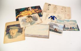 SELECTION OF MID TWENTIETH CENTURY UNFRAMED WATERCOLOUR DRAWINGS, MAINLY THE WORK OF G. BOWEN, to