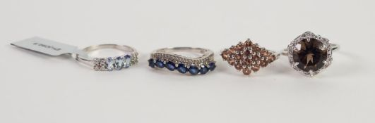 FOUR STERLING STONE SET RINGS, 925 mark, ring size P x 2 and R x 2 (4)
