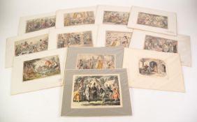 AFTER JOHN LEECH TWELVE HAND COLOURED MID NINETEENTH CENTURY BOOKPLATES, caricatures Comic History
