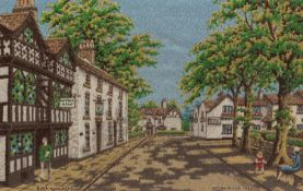 PAIR B.W.A. MACCLESFIELD SILK WOVEN PICTURES IN COLOURS 'Gawsworth Old Rectory' and 'Prestbury