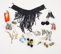 BLACK MICRO-BEAD BROAD CHOKER NECKLACE, with graduated fringe and a PAIR OF SIMILAR SEVEN STRAND