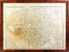 circa 1865 'Galignani's Plan of Paris and Environs' with two vignettes showing 'Principal areas of