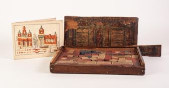 EARLY TWENTIETH CENTURY BOXED SET OF GERMAN CHILD'S COLOURED STONEWARE BUILDING BRICKS, with