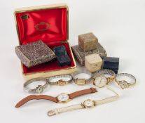 TWO GENT'S QUARTZ WRISTWATCHES; FIVE LADY'S WRISTWATCHES; SEVEN VINTAGES RING BOXES, etc. and a